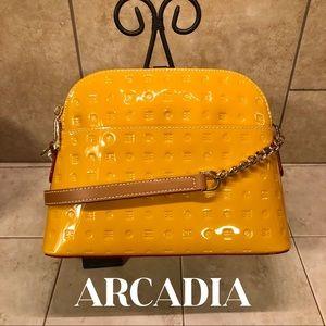 Arcadia Laura Crossbody Yellow Patent Leather  Bag